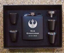 Black Starwars Flask Set for Groomsman Gift Rebel Alliance Custom Star Wars