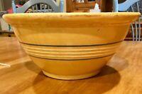 "HUGE Vintage Country Farmhouse Stoneware Yellow/Blue Stripe Mixing Bowl 12 3/4"""