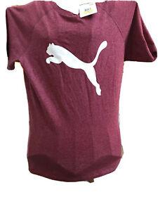 Puma NWT women size M Rhubarb heather-Puma white short sleeve active wear shirt