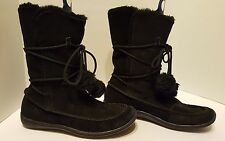 ❤️ Airwalk ❤️ Black Suede Boots Fully Lined w/ Faux Fur and Pon Pons ❤️ Size 7.5