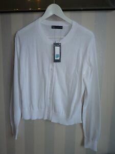 Marks & Spencer Ladies New White Cotton Button Down Cardigan Cotton UK 14