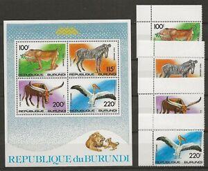 Burundi 1992 Wildlife Fauna Tiere Dieren Animals Monkey Zebra Bird set + MS MNH
