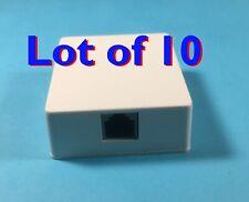10X,  1 Port Telephone Phone Surface Mount Box Wall Plate Jack RJ12 RJ11 6P6C