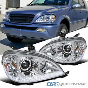 For 02-05 Benz W163 ML320 ML350 ML55 AMG Clear SMD LED Projector Headlights Pair