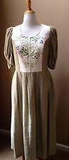 Dirndl Dress And Shawl Austria SZ 14 Handmade Iridescent Linen One Of A Kind