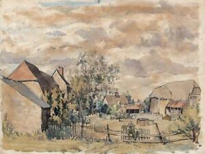 SIR PATRICK DALMAHOY NAIRNE (1921-2013) Watercolour Painting FARM AT HINKSEY