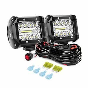 NILIGHT 4 INCH LED PODS LIGHT 2PCS 60W SPOT FLOOD COMBO BEAM TRI-ROW LIGHT BAR