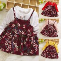 Toddler Baby Kid Girl Ruffles Ruched Floral Patchwork Dress Casual Clothes Dress