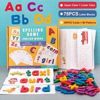 Holzpuzzle Alphabet Buchstaben Kinder lernen Lernspielzeug Baby Geschenk ABC