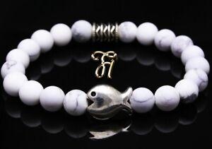 Howlite Bracelet Pearl Bracelet White Matt Flat Fish 8mm