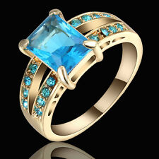 Vintage Square Blue Topaz  Wedding Band Ring Women's Black Rhodium Plated Size 7