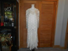 Ivory Lace Gown Dress Wedding Bride Victorian Style Plus Size 24W #2145