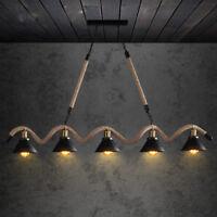 Industrial Black Metal Cone Shade Hemp Rope Island Kitchen Ceiling Pendant Light