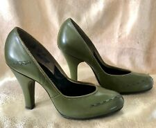 Vintage 1940's Green Leather Shoes Pumps W/ Deco Stitching 4 M 9in
