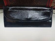 Black PERLINA New York Patent Leather Envelope Clutch Handbag Evening Bag Purse