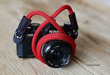 Windmup RED nylon 8mm shorten handmade Camera neck strap
