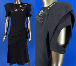 Vintage Original Debutante Junior Black Crepe Silver Leather Leaf Cocktail Dress