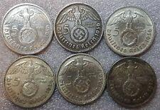 UNIQUE 6 x Full Mint Set 5 ReichsMark 1936 Nazi Silver Coin
