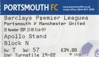Ticket - Portsmouth v Manchester United 28.11.09