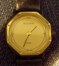 ACCUTRON Ladies Quartz Watch w/ Black Leather Band  10624550