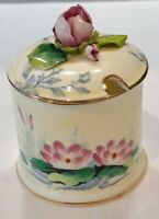 VINTAGE CROWN STAFFORFSHIRE BONE CHINA FLORAL PRESERVE / HONEY POT HEIGHT 11 CMS