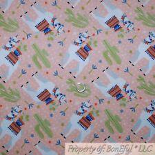 BonEful Fabric Cotton Quilt Peach White Desert Scenic Llama Animal Flower Scrap