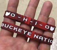 LOT OF 3 - Ohio State Buckeyes Buckeye Nation Wristbands OSU Buckeye Bracelets