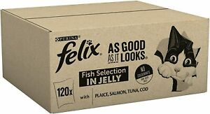 Wet Cat Food Felix As Good As It Looks Tuna Salmon Cod Fish 120 Pouches x 100 g