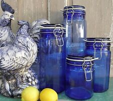 Cobalt Blue 12 Panel Glass Kitchen Canisters Jars Wire Bail New Seals Set of 4