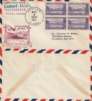 US 1938 FIRST FLIGHT AIR MAIL FLOWN COVER JUNEAU ALASKA TO WHITE HORSE YUKON
