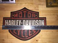 "Harley Davidson Garage Cast Iron Sign 13"" Solid Metal Patina Texaco Sinclair Ex"