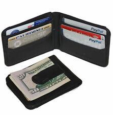RFID Blocking Black Leather Mens Bifold Money Clip Wallet ID Badge Holder