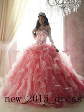 Hot 2017 Ball Gown Quinceanera Dresses Ruffles Prom Pageant Formal Evening Dress