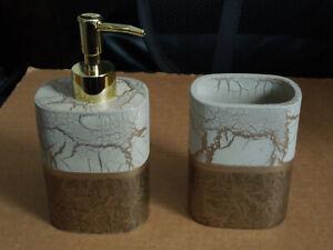 Set Soap/ Lotion Dispenser & Toothbrush Holder Gold