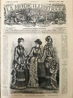 French MODE ILLUSTREE SEWING PATTERN July 9,1882 - Batiste dress, Paletot...