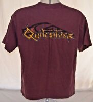 VTG 80s Quicksilver Spell Out Logo Surf Skate Fire Red Purple Mens L Made in USA