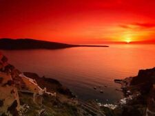 Sunset Santorini Greece Orange Seascape Photo Poster Print