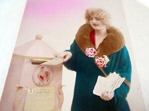 OLD PPC: LOVELY LADY POSTS  LETTER IN MAIL BOX~FASHION~1920's~GALLIC ROOSTER