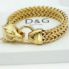 "NEW DG Gift Inc Men's 8.5"" Gold Stainless-Steel WOLF Heavy Franco Bracelet + Box"