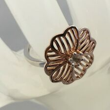 WOW - Morganite Two Tone 'Flower' Rose Gold Plated Sterling Silver Ring - 0.18ct
