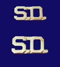 """S.O. Collar Pin Set Cut Out Letters 3/8"""" Security Officer Nickel Plated 2405 New"""