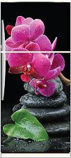 Sticker frigo électroménager déco cuisine Orchidé galets 70x170cm réf 674