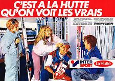 PUBLICITE ADVERTISING 054  1985   LA HUTTE INTER SPORT  vetements de ski ( 2 pag