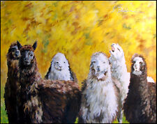 Linda Davidson Llamas Original Oil Painting Artwork on Canvas, SUBMIT AN OFFER!