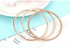 14K Rose Gold Plated Stacking Bangles Cuff Bracelet Set Of 3 Women Jewellery
