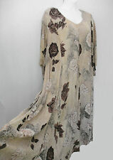 Nostalgia Vintage Grunge Beige Floral Rayon Maxi Dress Women's Plus Size 2X-3X