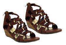 Womens Brown Tan Wedge Heel Twist Knot Summer Gladiator Sandals Sizes 4,5,6,7.8