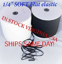 "1/4"" MASK Elastic 6MM  white or Black USA STOCK 1 - 100 yards! FREE SHIPPING"