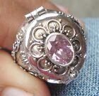925 Solid Silver Balinese Poison Wish Locket Ring Pink Zircon Size 8-H120