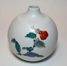 Vtg Unique Japanese art porcelain Arita kakiemon small vase spiderwort painting